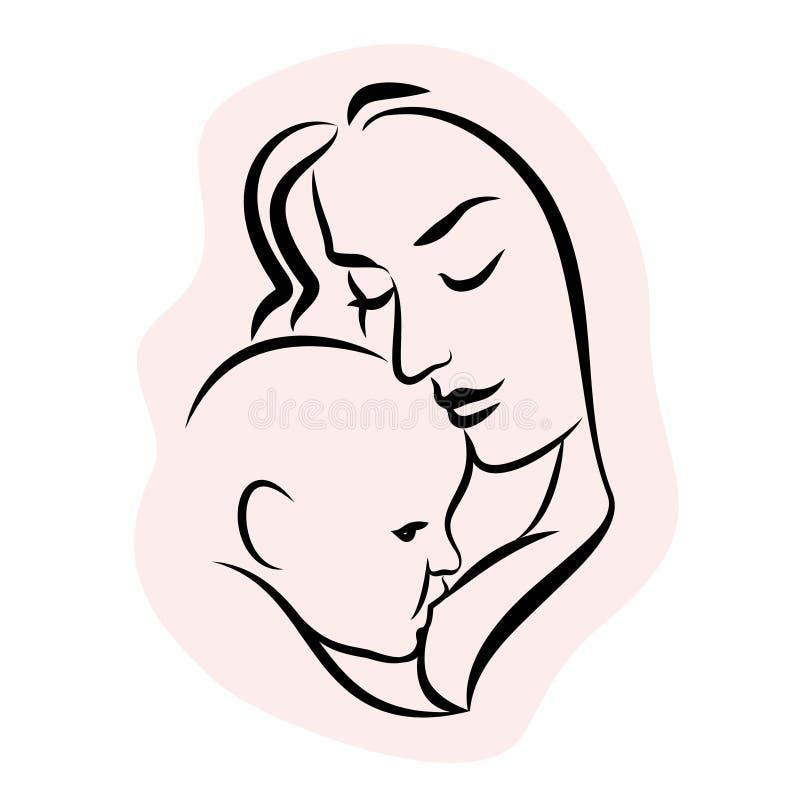 Madre con el bebé Símbolo estilizado del esquema Amamantamiento de la mujer ilustración del vector