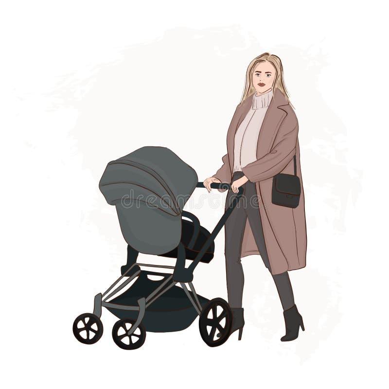 Madre con el carro de bebé que camina en el ejemplo exhausto de la mano de la calle Muchacha que empuja un bosquejo de la moda de libre illustration
