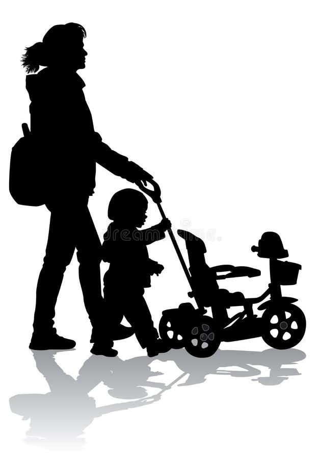 Madre con el niño en paseo libre illustration