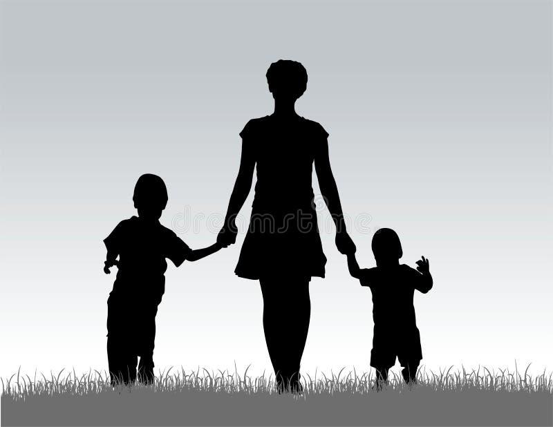 Madre con i bambini   illustrazione vettoriale
