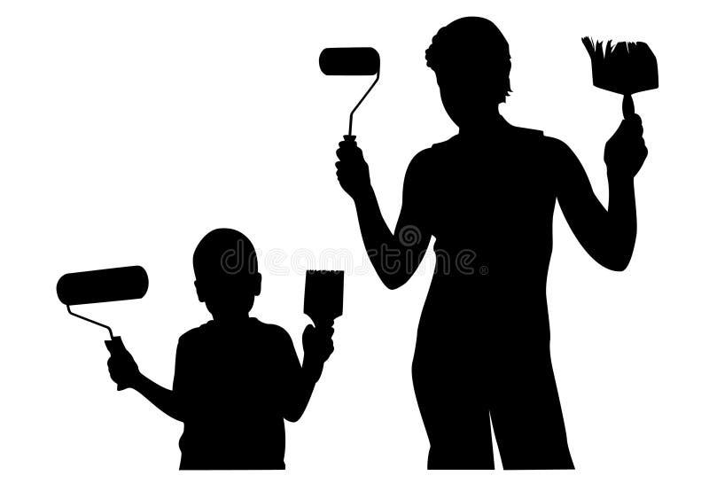 Madre con il bambino con il vect della siluetta dello strumento di riparazione illustrazione di stock