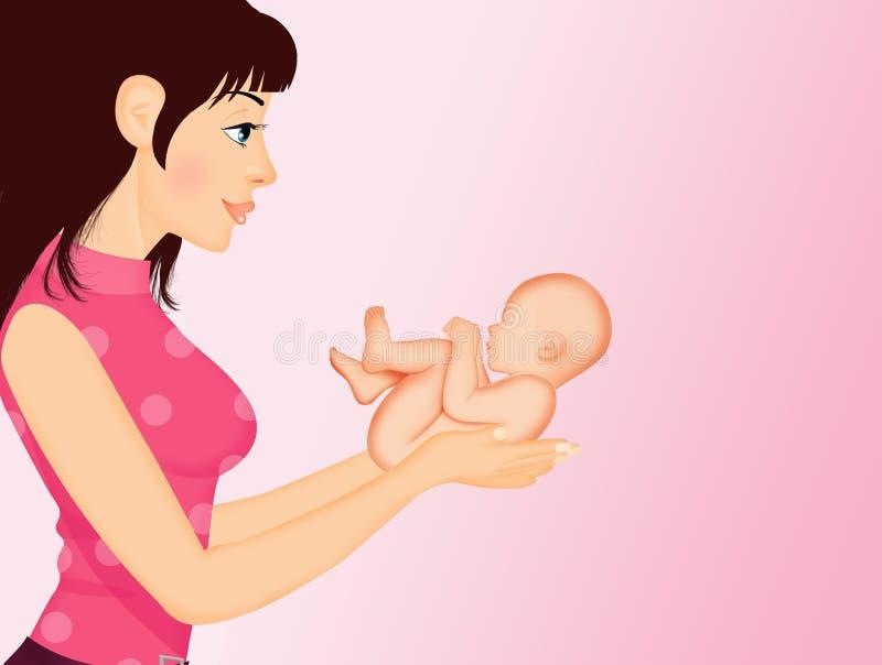 Madre con il bambino sopportato in sue mani royalty illustrazione gratis