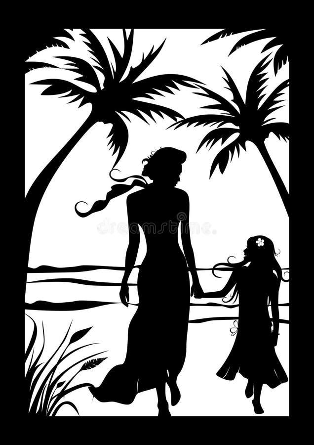 Madre con il bambino sulla spiaggia illustrazione vettoriale