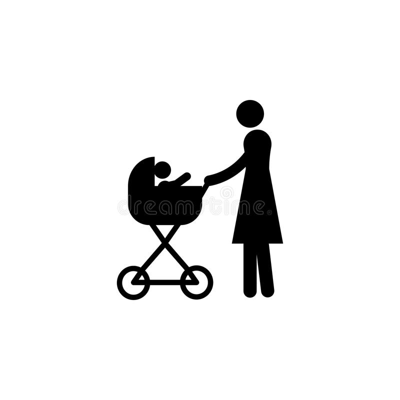 madre con l'icona del passeggiatore Elemento dell'icona di viaggio per i apps mobili di web e di concetto La linea sottile madre  royalty illustrazione gratis