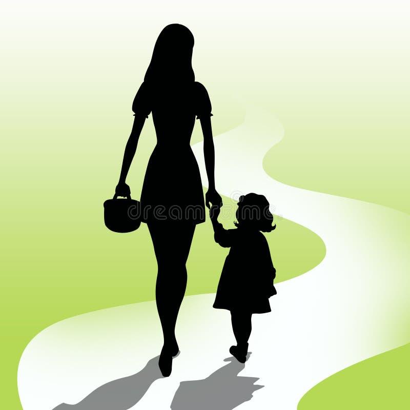 Madre con la figlia illustrazione vettoriale