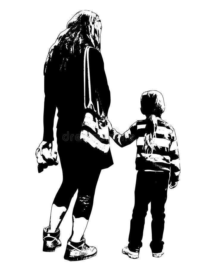 Madre con la silueta de la hija fotografía de archivo