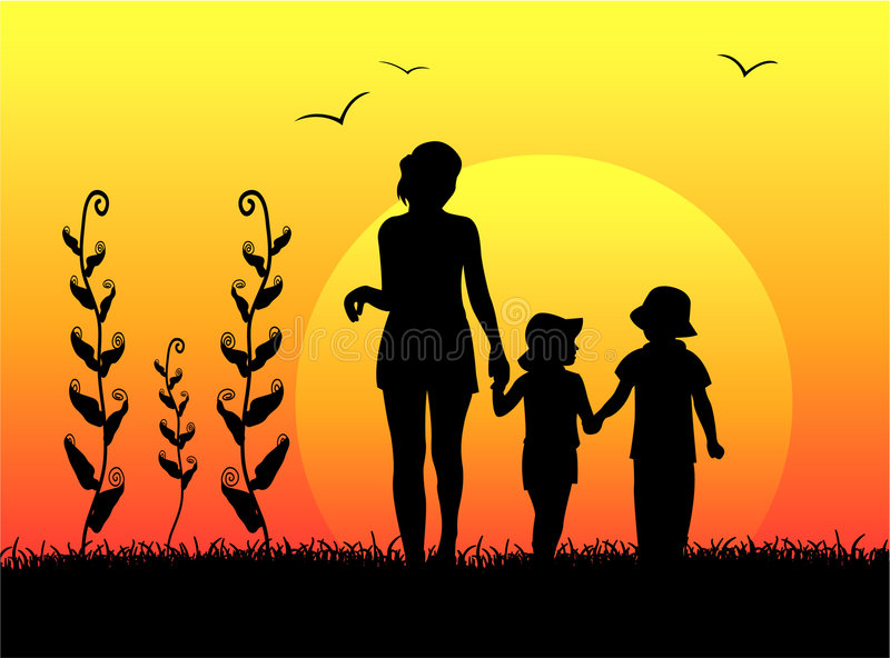Madre con la siluetta dei bambini illustrazione di stock