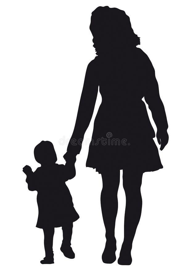 Madre con la siluetta del bambino illustrazione di stock