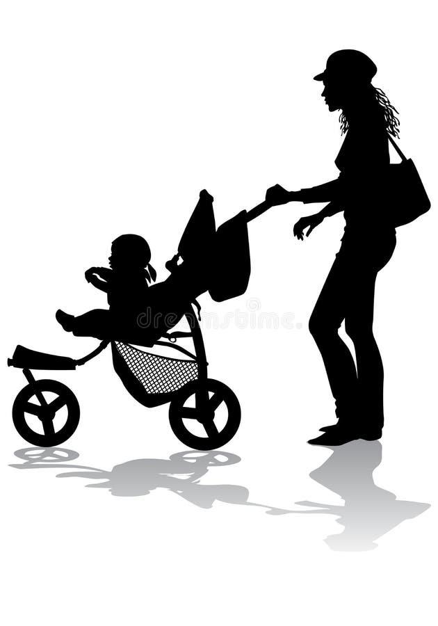 Madre con los niños en caminata stock de ilustración