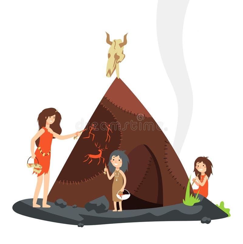 Madre con los niños en Edad de Piedra Personaje de dibujos animados primitivo de la gente ilustración del vector