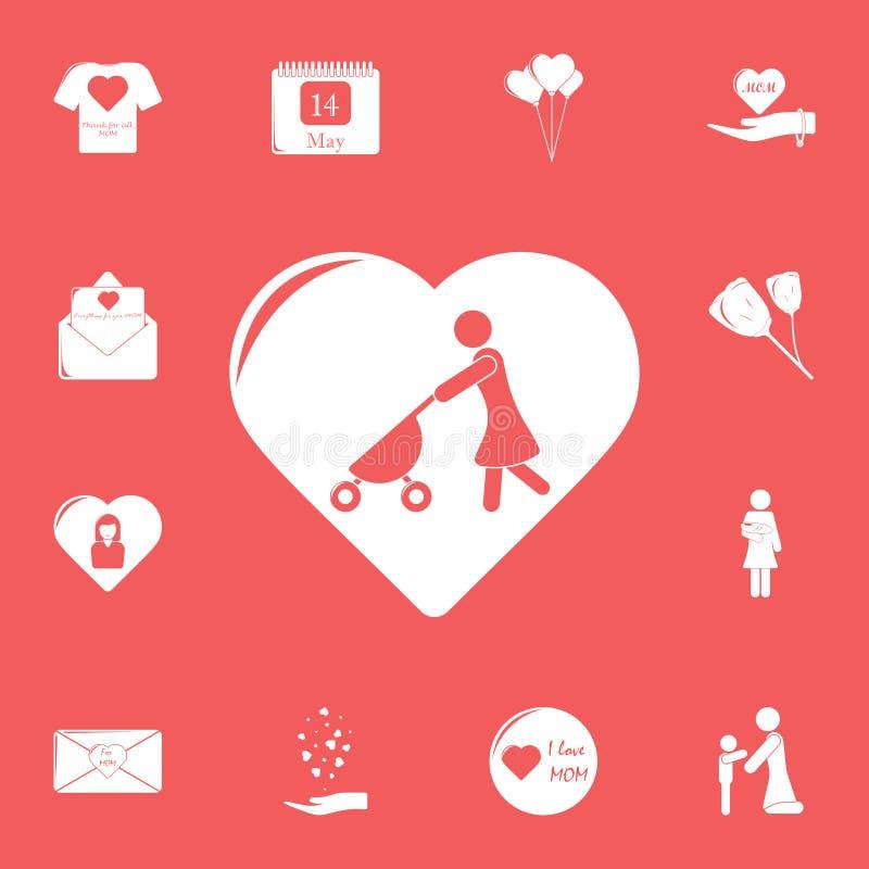 madre con un passeggiatore nell'icona del cuore Insieme dettagliato delle icone di giorno di madre Progettazione grafica premio U royalty illustrazione gratis