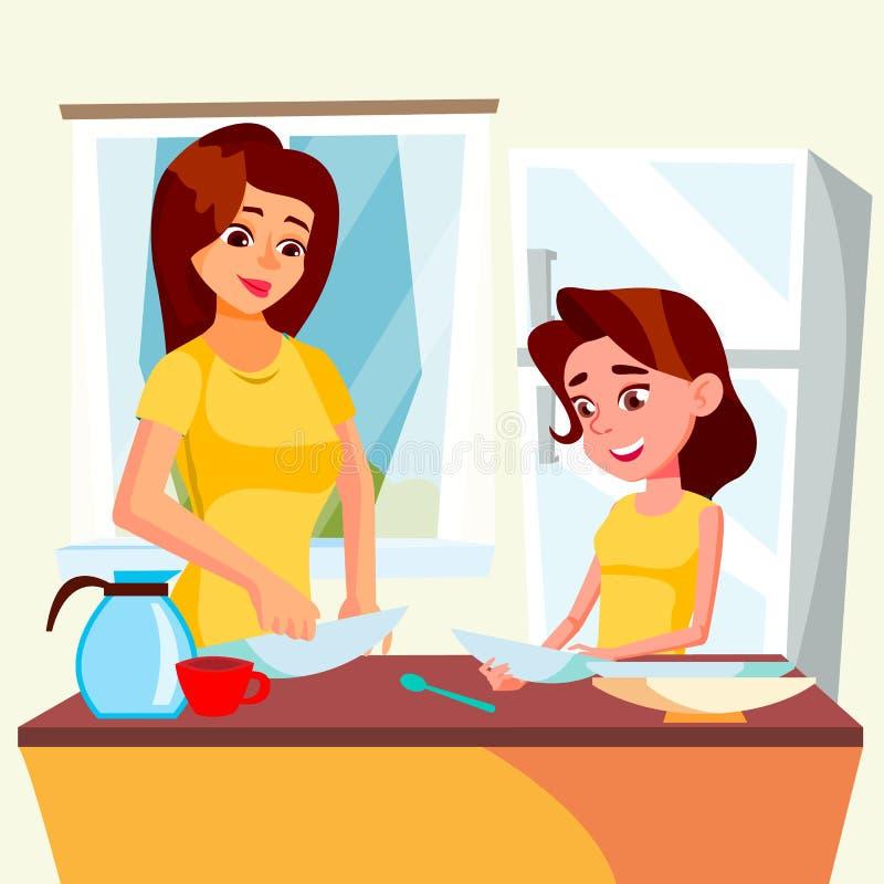 Madre d'aiuto della bambina lavare i piatti nel vettore della cucina Illustrazione isolata royalty illustrazione gratis