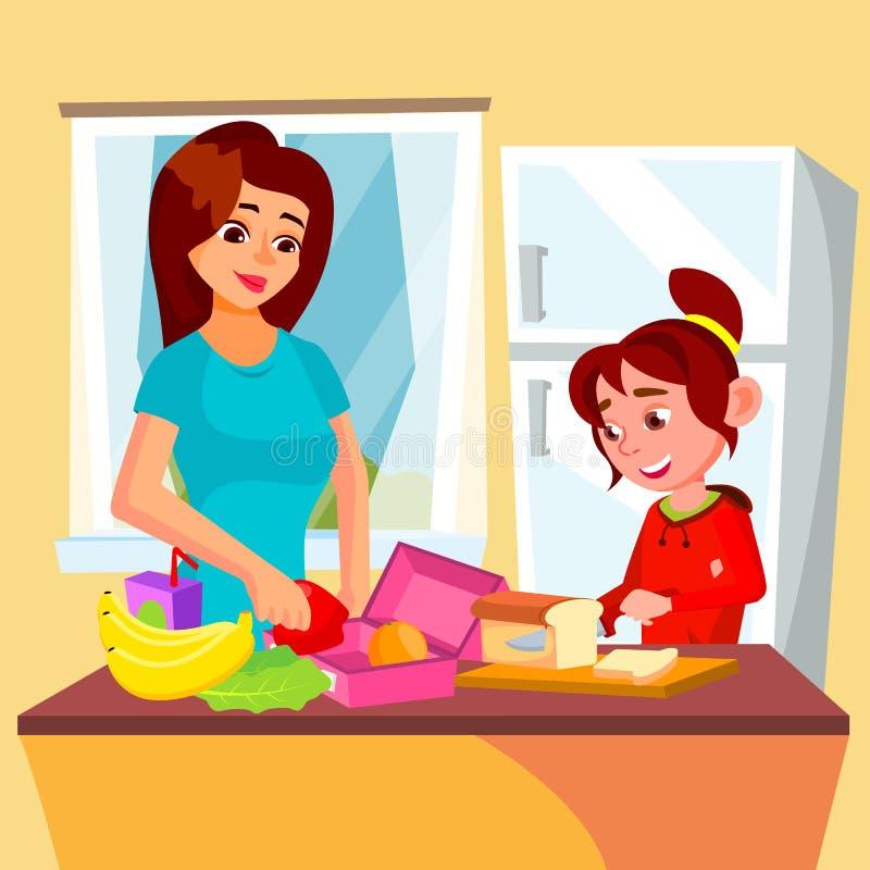 Madre d'aiuto della bambina nel vettore della cucina Scatola di pranzo Illustrazione isolata illustrazione di stock
