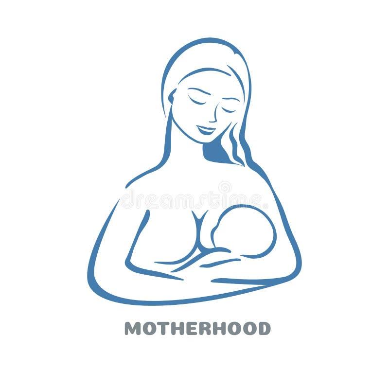 madre d'allattamento al seno del bambino Progettazione di logo di alimentazione sana nazionale di promozione illustrazione di stock