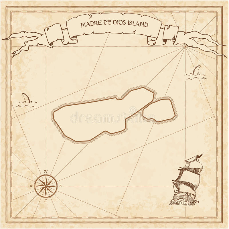 Madre de Dios Island old treasure map. Sepia engraved template of pirate island parchment. Stylized manuscript on vintage paper royalty free illustration