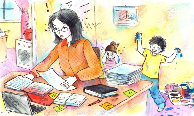 Madre de funcionamiento stock de ilustración