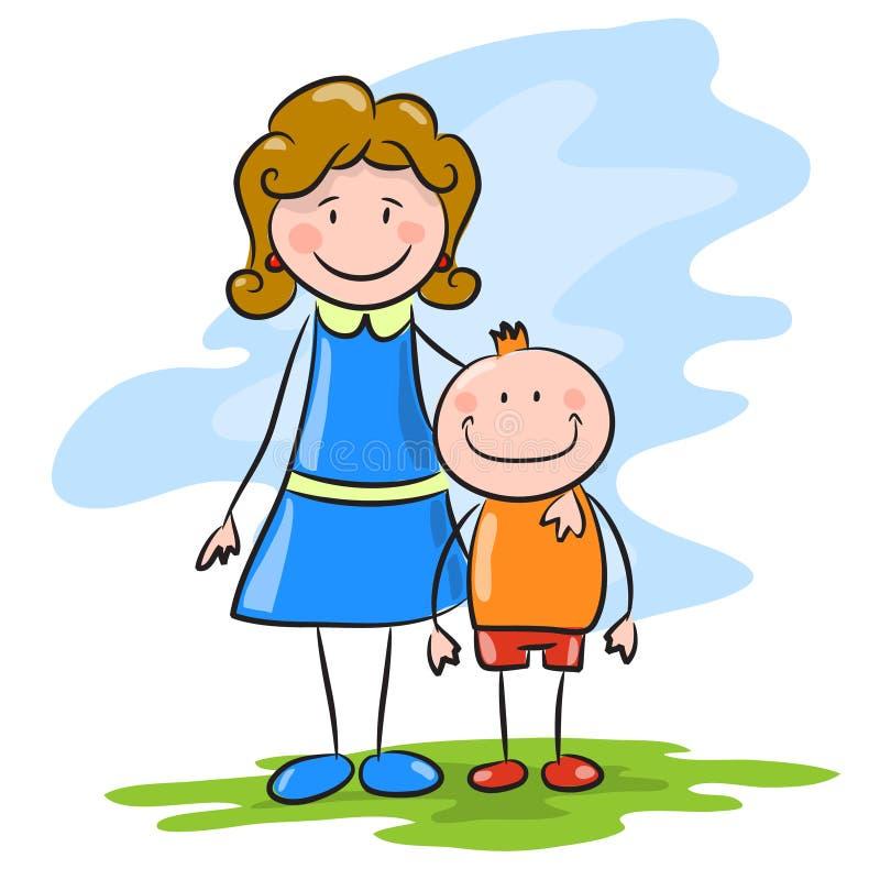Madre de la historieta con el hijo ilustración del vector