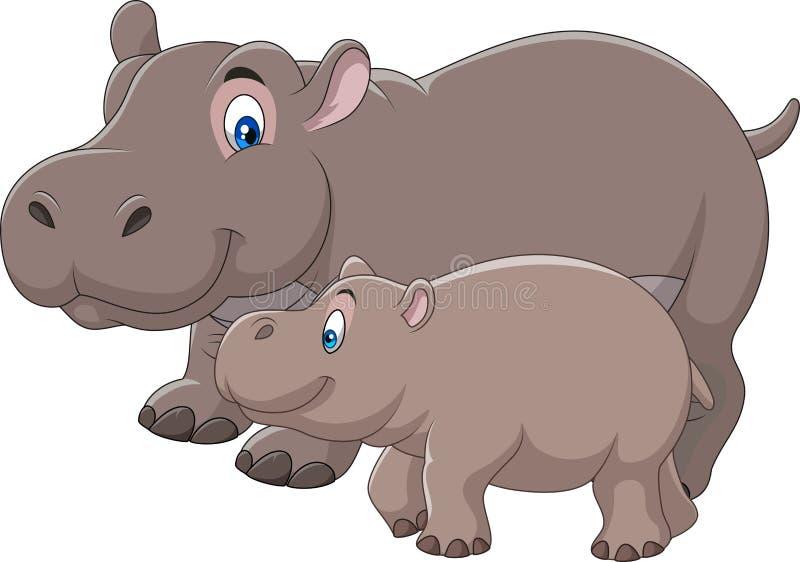 Madre de la historieta y hipopótamo del bebé stock de ilustración
