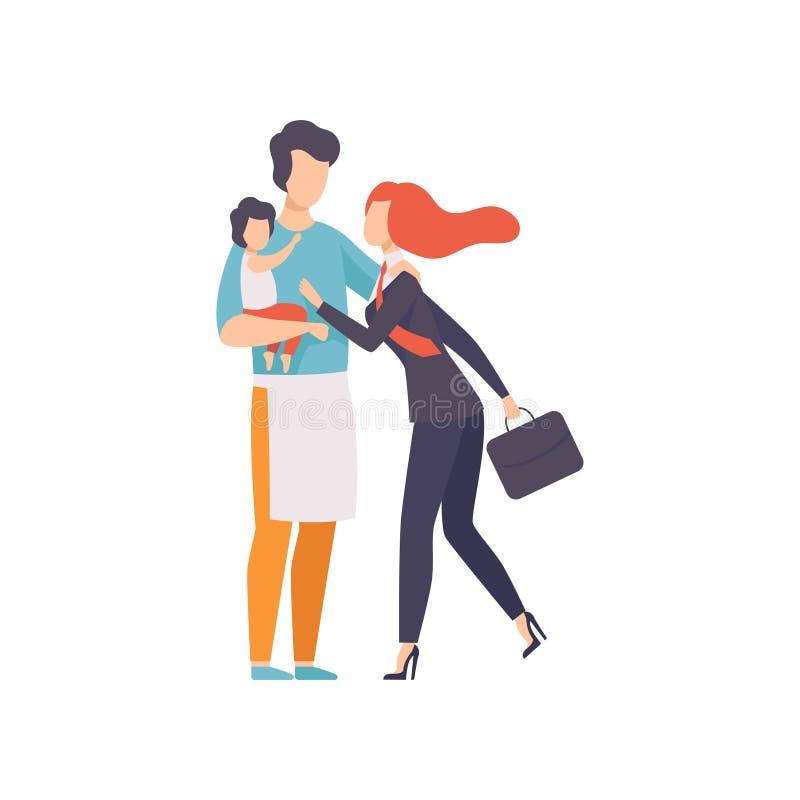 Madre de la reunión del bebé de la tenencia del papá después del trabajo, de Househusband y de la mujer de negocios, igualdad, li libre illustration