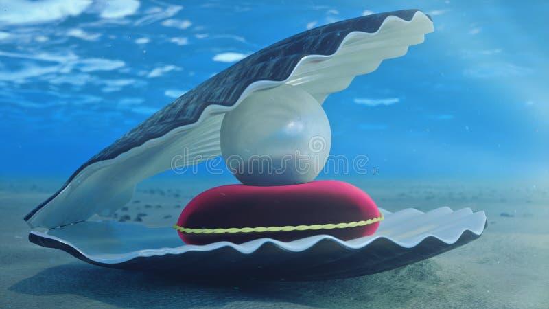 Madre de perlas bajo el agua Submarino de la c?scara del mar con el interior de la perla y la almohada roja del terciopelo Ostras libre illustration