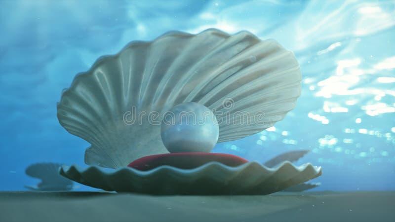 Madre de perlas bajo el agua Submarino de la c?scara del mar con el interior de la perla y la almohada roja del terciopelo Ostras stock de ilustración