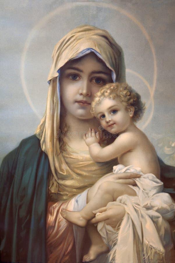 Madre del dio. Immagine di stampa cattolica tipica dall'autore anonimo fotografie stock libere da diritti