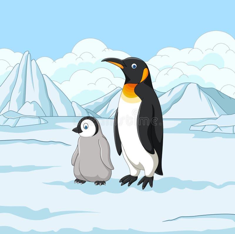 Madre del fumetto e pinguino del bambino sul campo nevoso illustrazione vettoriale