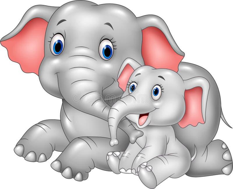 Madre del fumetto ed elefante divertenti del bambino su fondo bianco illustrazione di stock