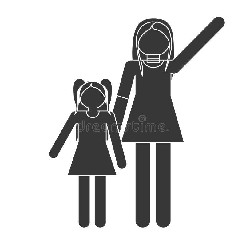 madre della siluetta e famiglia di relazione della figlia illustrazione di stock