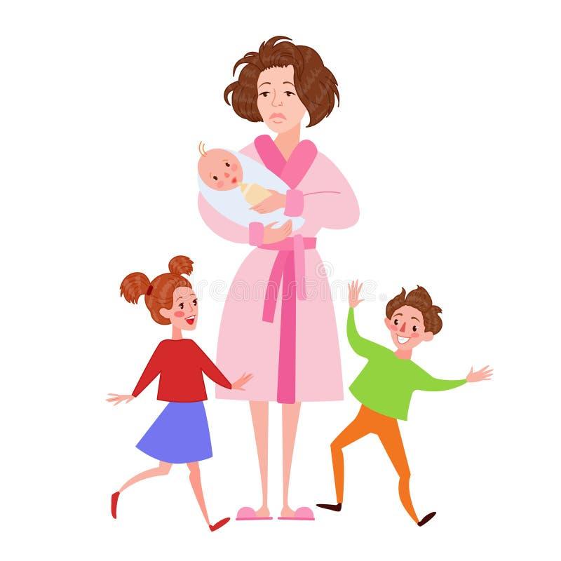 Madre desesperada con recién nacido y niños Mujer cansada de la historieta y niños que retozan Concepto de la maternidad stock de ilustración
