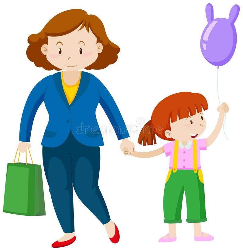 Madre e bambina con il pallone illustrazione vettoriale