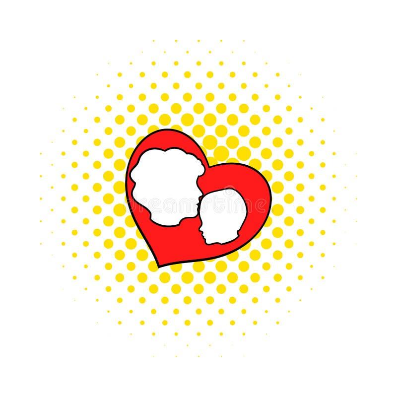 Madre e bambino dentro l'icona del cuore, stile dei fumetti royalty illustrazione gratis