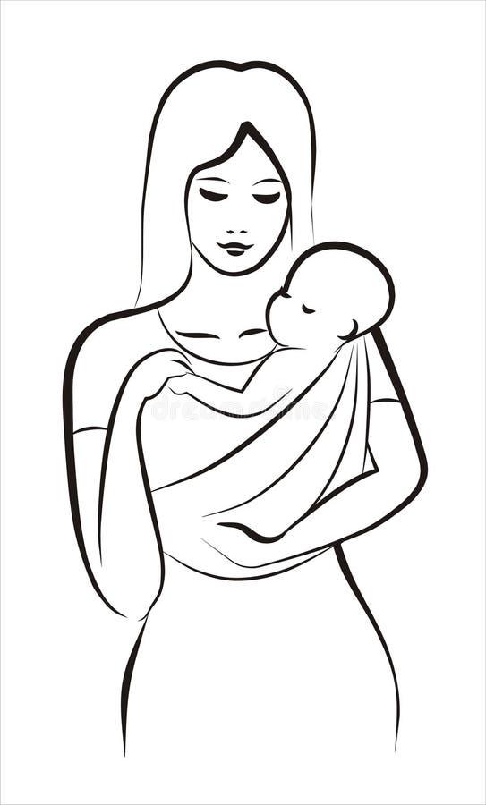 Madre e bambino in imbracatura illustrazione vettoriale
