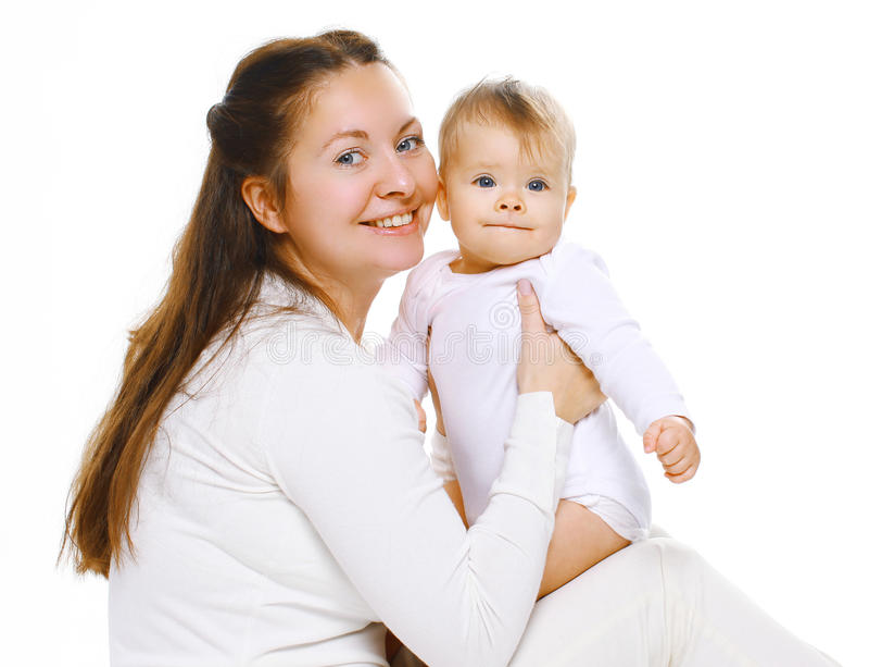 Madre e bambino sorridenti del ritratto immagine stock