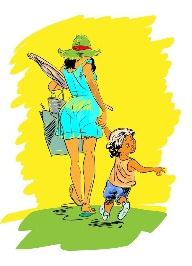 Madre e bambino sulla spiaggia illustrazione vettoriale