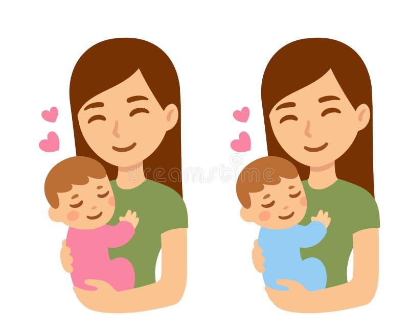 Madre e bambino svegli del fumetto illustrazione di stock