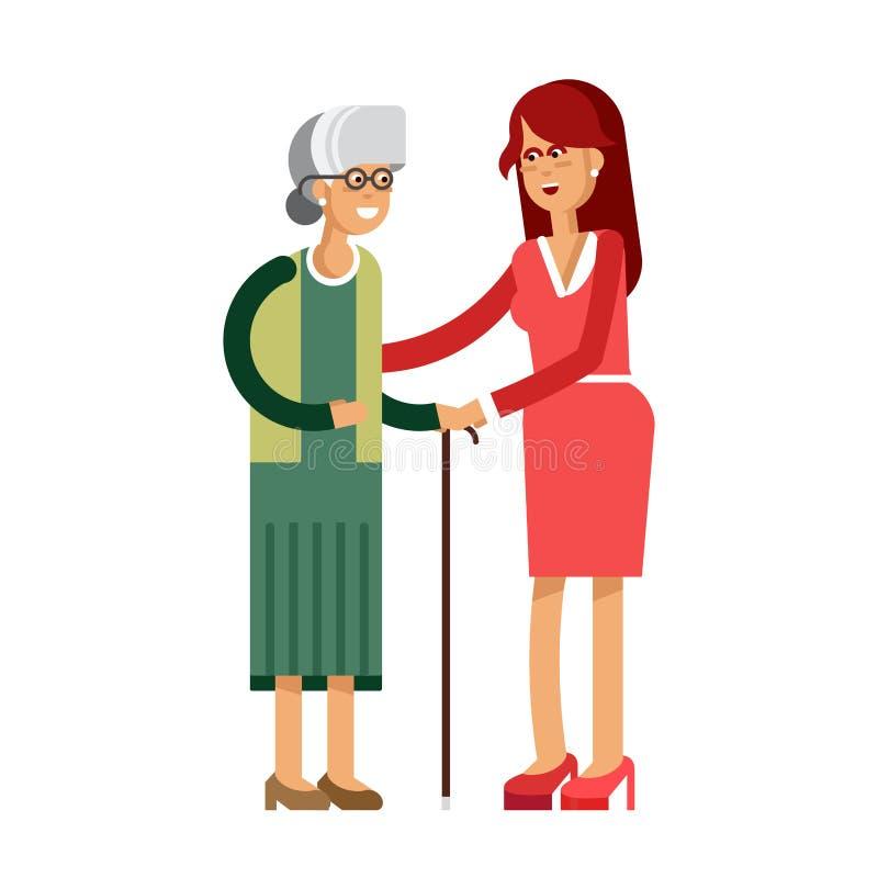 Madre e figlia dell'illustrazione di vettore illustrazione di stock