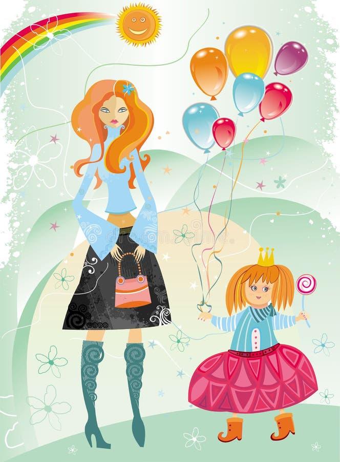 Madre e figlia sveglia illustrazione di stock