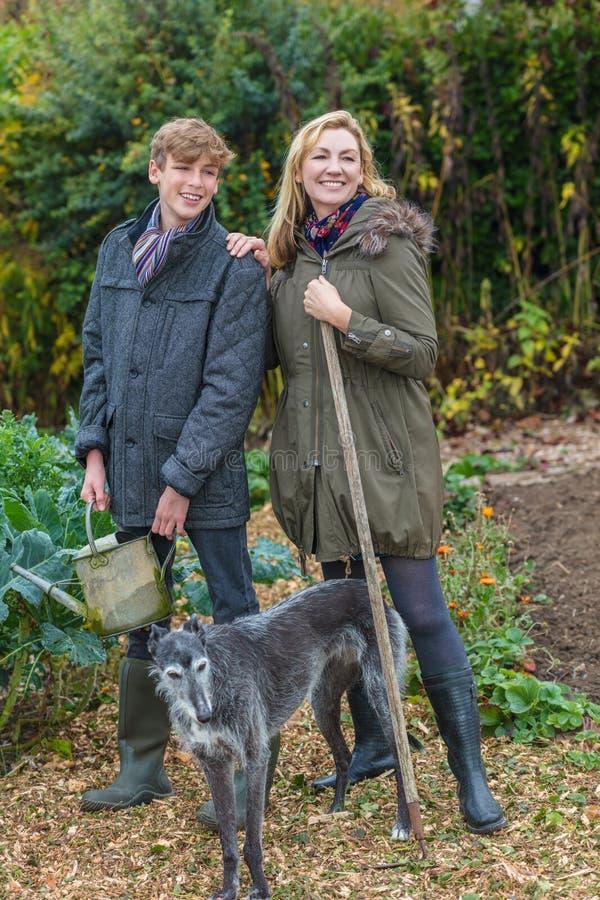 Madre e figlio adolescente, donna e ragazzo, facenti il giardinaggio fotografia stock libera da diritti