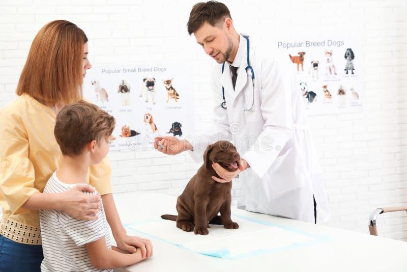 Madre e figlio con il loro veterinario di visita dell'animale domestico in clinica fotografia stock