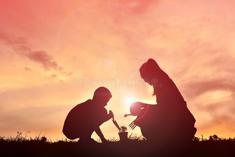 Madre e figlio della siluetta che piantano un albero immagine stock libera da diritti