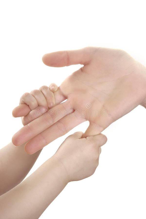 Madre e figlio, mano della figlia insieme immagine stock libera da diritti