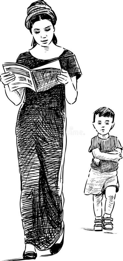 Madre e figlio su una camminata illustrazione di stock