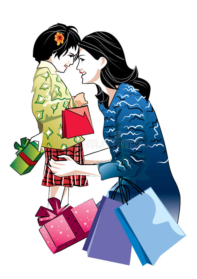 Madre e hija stock de ilustración