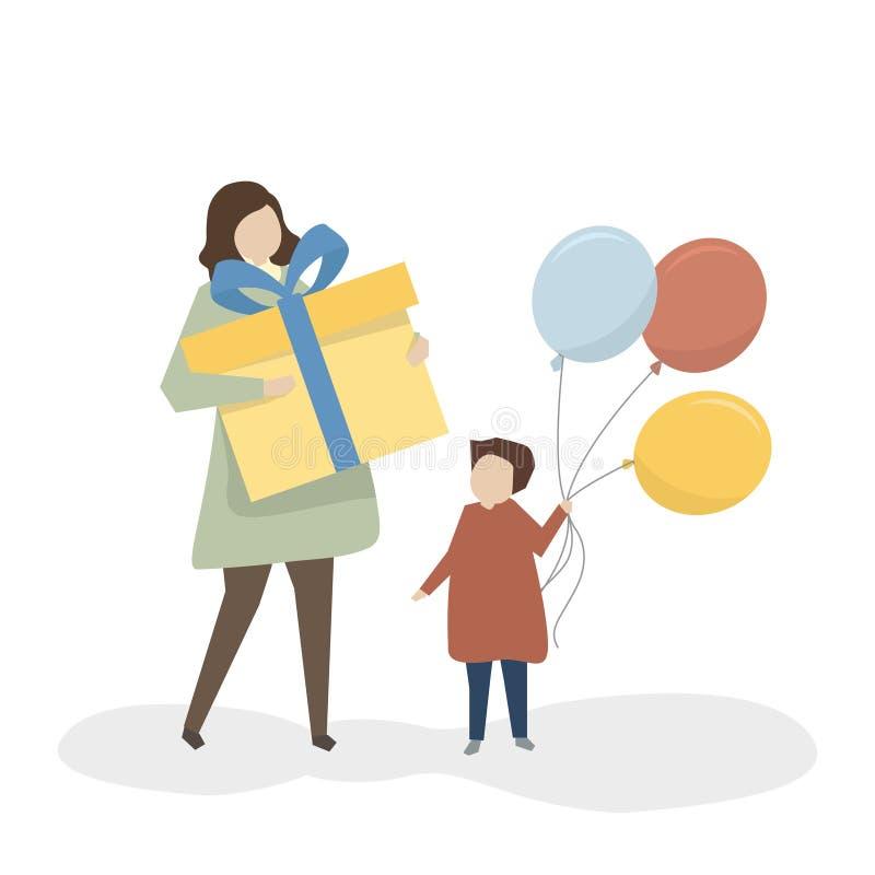 Madre e hija con los globos y el regalo libre illustration