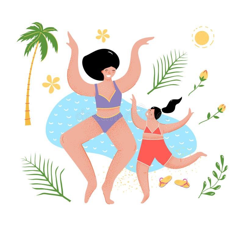 Madre e hija de la diversión en la historieta plana del mar ilustración del vector