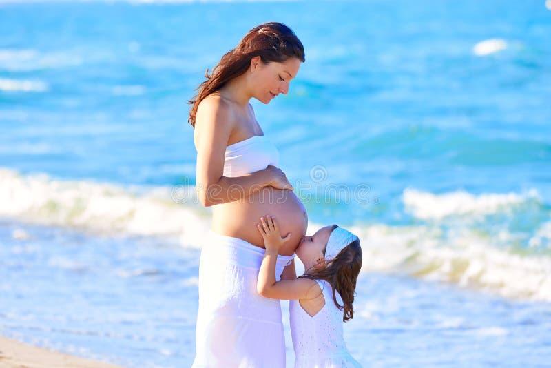 Madre e hija embarazadas en la playa fotos de archivo libres de regalías
