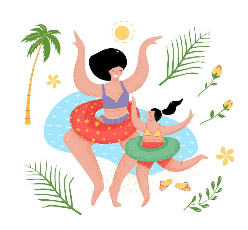 Madre e hija en el ejemplo plano del vector de la playa stock de ilustración