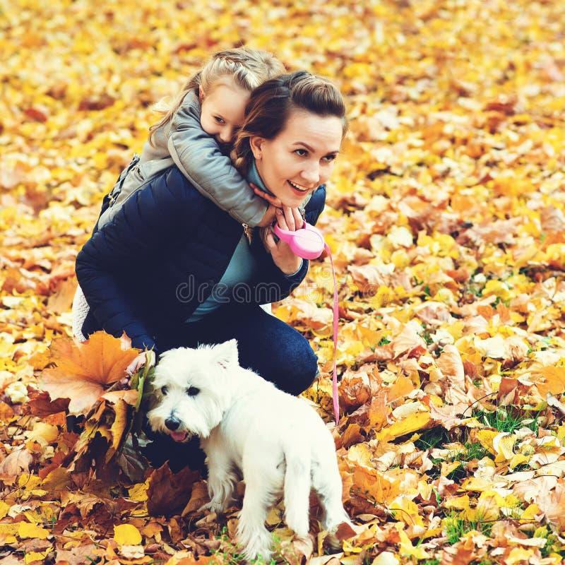 Madre e hija en paseo del otoño con el perro Familia cariñosa feliz que se divierte Pequeño perro y familia blancos que gozan jun imagen de archivo libre de regalías