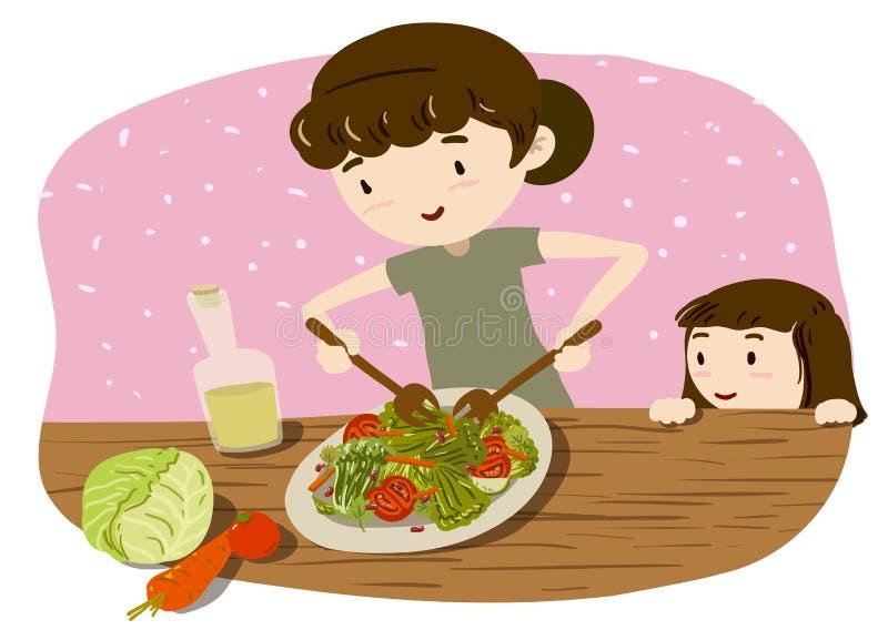 Madre e hija que cocinan la ensalada libre illustration
